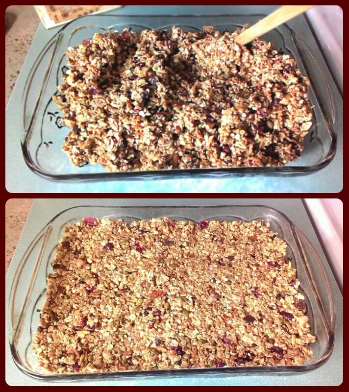 Press granola into baking dish