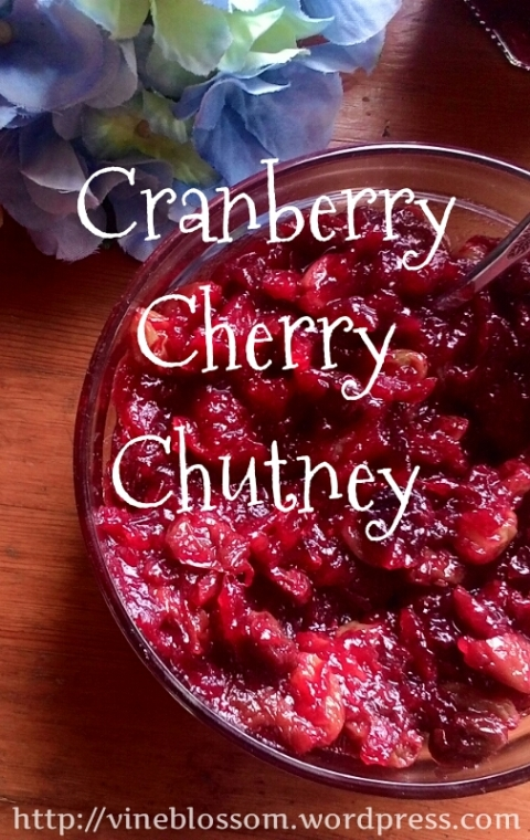 Cranberry Cherry Chutney ~ Better than store-bought cranberry sauce any day, this easy to make chutney pairs perfectly with your Thanksgiving turkey. https://vineblossom.wordpress.com  #chutney, #Thanksgiving, #homemade, #healthy