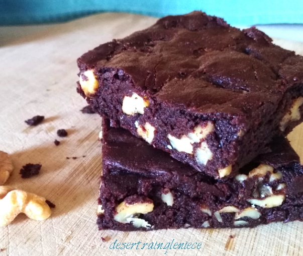 Brown Butter Brownies with Cayenne & Toasted Walnuts ~ Delectable fudge brownies with a surprising and pleasurable heat. https://vineblossom.wordpress.com #brownies, #brownbutter, #chili pepper, #darkchocolate