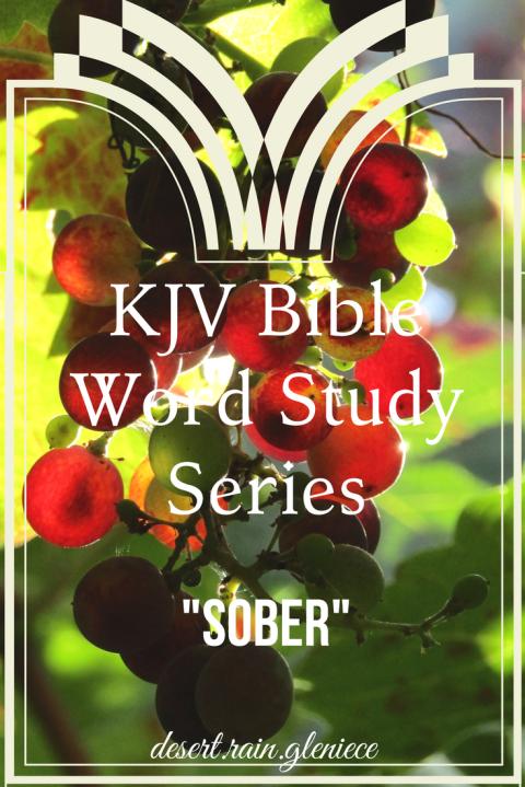 Sober: KJV Bible Word Study Series ~ Join me as I research many confusing or unfamiliar KJV words to broaden our understanding of scripture passages. https://vineblossom.wordpress.com #kjvbible, #wordstudy, #biblestudyforwomen
